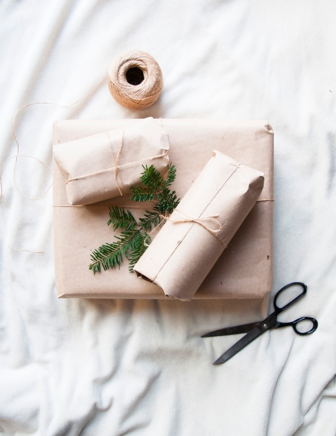 Zero-waste gift wrapping with recycled craft paper and jute twine